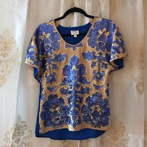 Nieman Marcus Blue and Gold Sequin Blouse ⚜️